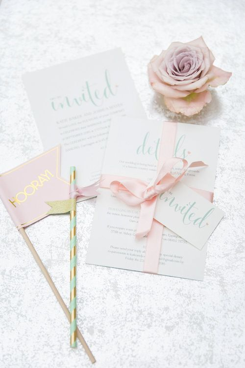 Pastel Green & Pink Wedding Stationery | Pastel Wedding at Gaynes Park | Anneli Marinovich Photography