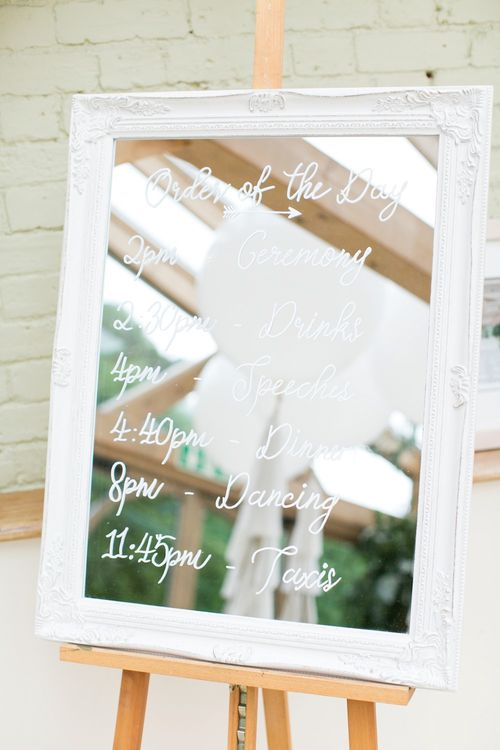 White Frame Mirror Order of The Day Sign | Pastel Wedding at Gaynes Park | Anneli Marinovich Photography