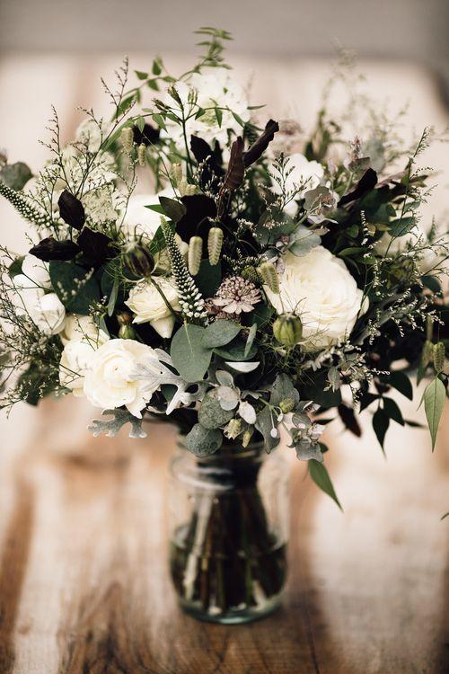 White & Greenery Bridal Bouquet | Rustic Barn Wedding at Nancarrow Farm, Cornwall | Samuel Docker Photography