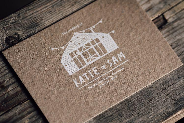 Kraft Paper Wedding Stationery with White Ink | Rustic Barn Wedding at Nancarrow Farm, Cornwall | Samuel Docker Photography