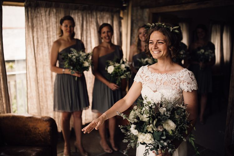 Bridal Preparations | Bride in Catherine Deane Gown | Bridesmaids in Grey One Should JCrew Dresses | Rustic Barn Wedding at Nancarrow Farm, Cornwall | Samuel Docker Photography
