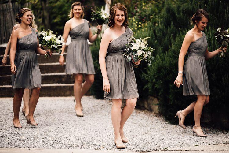 Bridal Party Entrance | Bridesmaids in Grey One Should JCrew Dresses | Rustic Barn Wedding at Nancarrow Farm, Cornwall | Samuel Docker Photography