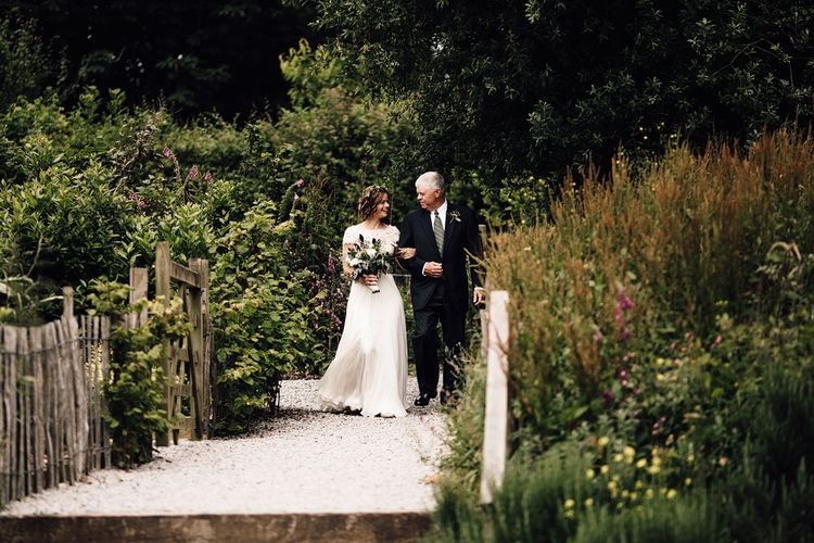 Bridal Entrance with Bride in Catherine Deane Gown | Rustic Barn Wedding at Nancarrow Farm, Cornwall | Samuel Docker Photography