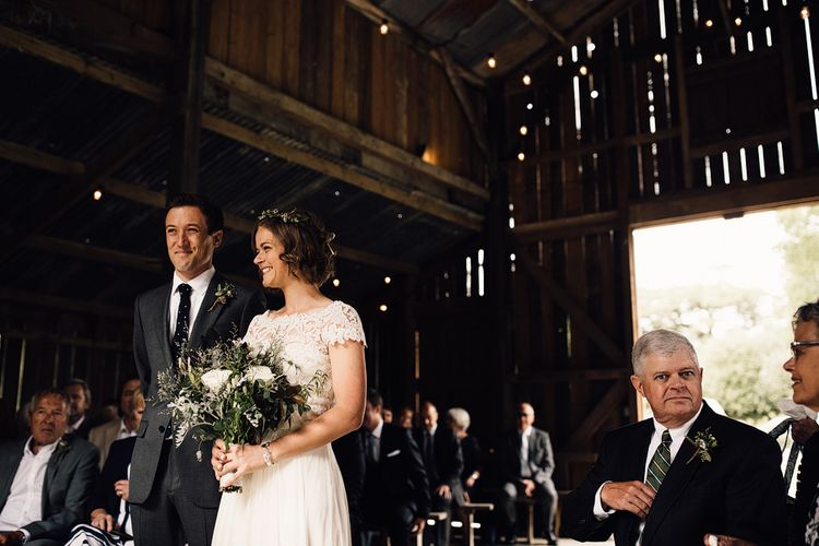 Wedding Ceremony | Bride in Catherine Deane Gown | Groom in Grey Edit Suits Suit | Rustic Barn Wedding at Nancarrow Farm, Cornwall | Samuel Docker Photography