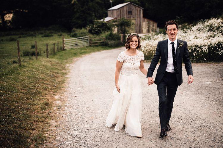 Bride in Catherine Deane Gown | Groom in Grey Edit Suits Suit | Rustic Barn Wedding at Nancarrow Farm, Cornwall | Samuel Docker Photography