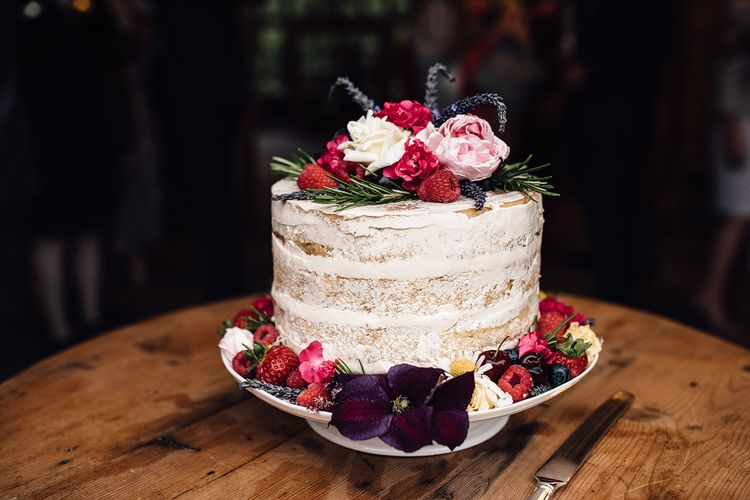 Semi Naked Single Tier Wedding Cake | Rustic Barn Wedding at Nancarrow Farm, Cornwall | Samuel Docker Photography