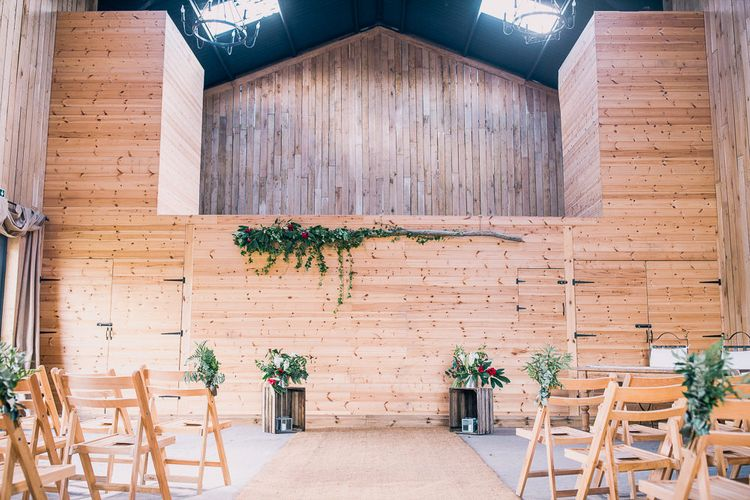 Barn Altar | PapaKåta Sperry Tent at Chafford Park in Kent Countryside | Eve Dunlop Photography | Roost Film Co.