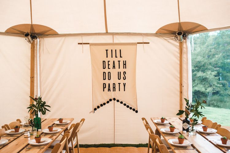 Till Death Do Us Party Wedding Decor | PapaKåta Sperry Tent at Chafford Park in Kent Countryside | Eve Dunlop Photography | Roost Film Co.