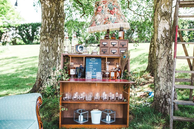Whiskey Bar Station | PapaKåta Sperry Tent at Chafford Park in Kent Countryside | Eve Dunlop Photography | Roost Film Co.