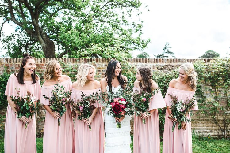 Bridal Party | Bridesmaids in Dusky Pink ASOS Bardot Dresses | PapaKåta Sperry Tent at Chafford Park in Kent Countryside | Eve Dunlop Photography | Roost Film Co.