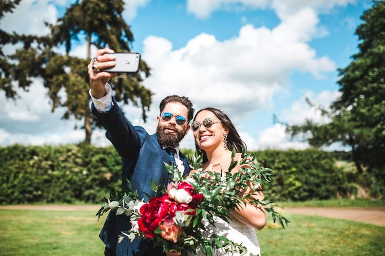 Bride & Groom Selfie | PapaKåta Sperry Tent at Chafford Park in Kent Countryside | Eve Dunlop Photography | Roost Film Co.