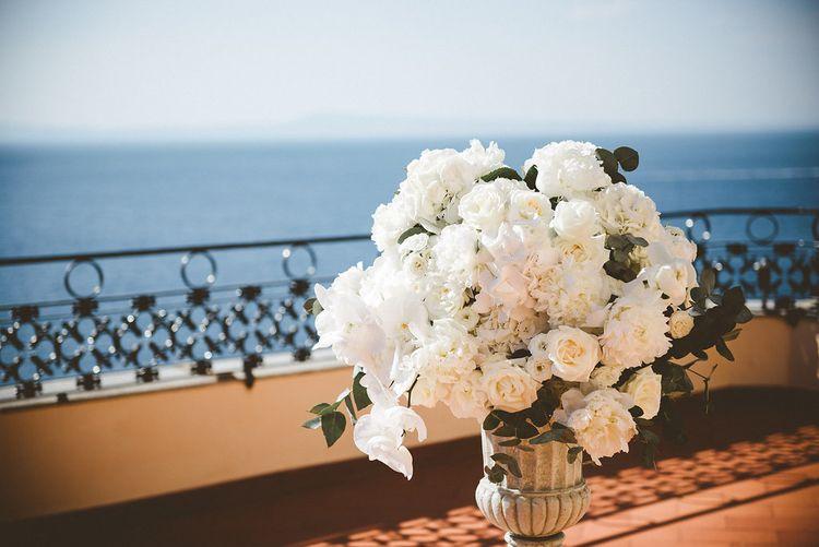 All White Ceremony Flower Arrangement