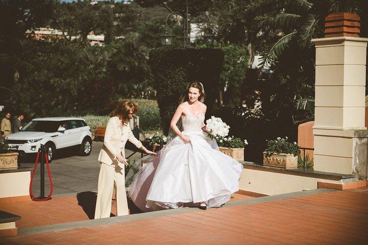 Beautiful Bride in Reem Acra Bridal Gown