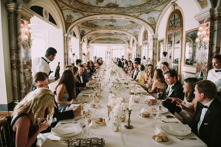 Elegant Reception Room | Gold Decor | White Flowers