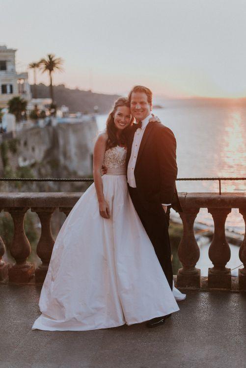 Romantic Bride & Groom Sunset Portrait