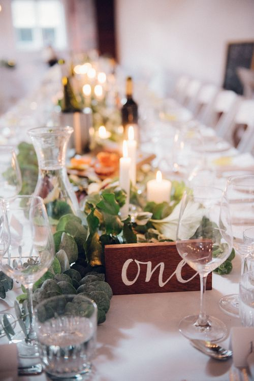 Floral Table Runner & Wooden Table Number