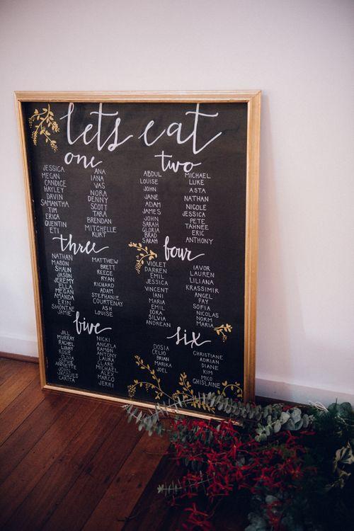 Chalkboard/Blackboard Table Plan