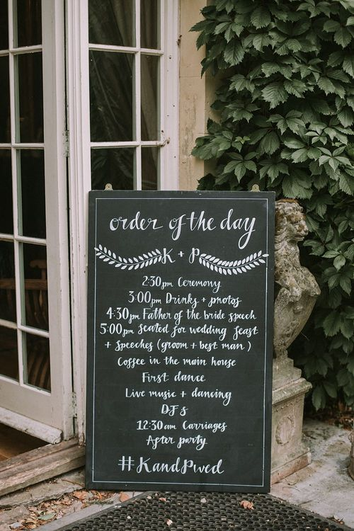 Order of the Day Chalkboard Sign | Blue & White Outdoor Summer Wedding at Maunsel House, Somerset | Maureen Du Preez Photography