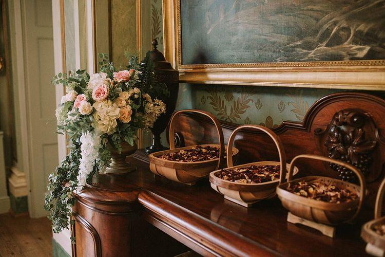 Confetti Baskets | Blue & White Outdoor Summer Wedding at Maunsel House, Somerset | Maureen Du Preez Photography