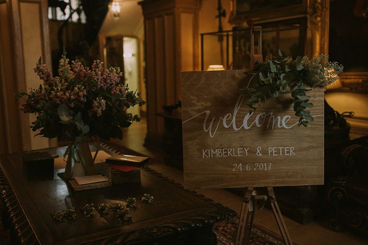 Wooden Welcome Sign | Blue & White Outdoor Summer Wedding at Maunsel House, Somerset | Maureen Du Preez Photography