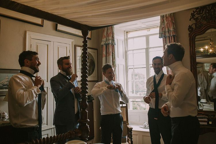 Groomsmen Getting Ready | Blue & White Outdoor Summer Wedding at Maunsel House, Somerset | Maureen Du Preez Photography