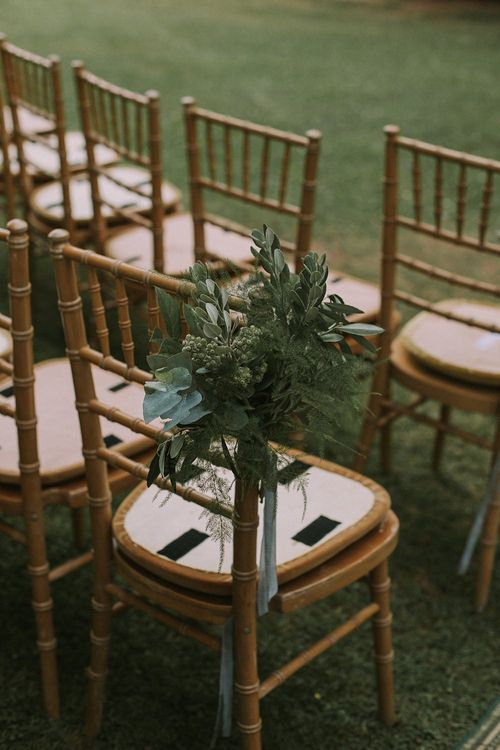 Greenery Chair Back Wedding Decor | Blue & White Outdoor Summer Wedding at Maunsel House, Somerset | Maureen Du Preez Photography