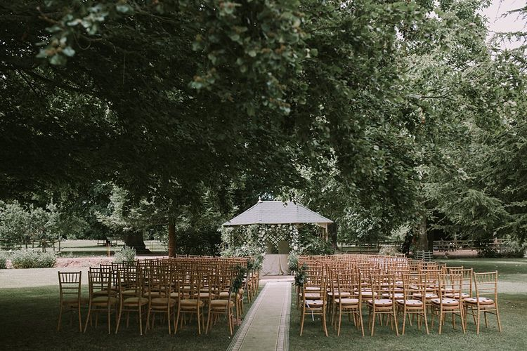 Aisle & Altar Style | Blue & White Outdoor Summer Wedding at Maunsel House, Somerset | Maureen Du Preez Photography