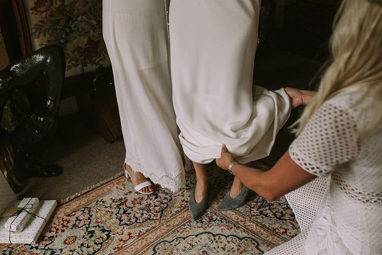 Grey Suede Wedding Shoes | Blue & White Outdoor Summer Wedding at Maunsel House, Somerset | Maureen Du Preez Photography