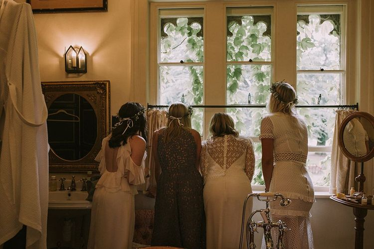 Bridal Morning Preparations | Bridesmaids in Different Dresses | Blue & White Outdoor Summer Wedding at Maunsel House, Somerset | Maureen Du Preez Photography