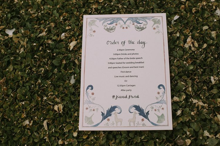 Order of the Day Wedding Stationery | Blue & White Outdoor Summer Wedding at Maunsel House, Somerset | Maureen Du Preez Photography