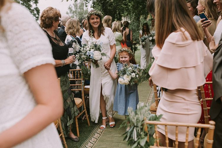 Bridesmaid & Flower Girl Entrance in White & Blue Dresses | Blue & White Outdoor Summer Wedding at Maunsel House, Somerset | Maureen Du Preez Photography