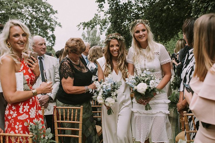 Bridesmaid Entrance in White Dresses | Blue & White Outdoor Summer Wedding at Maunsel House, Somerset | Maureen Du Preez Photography