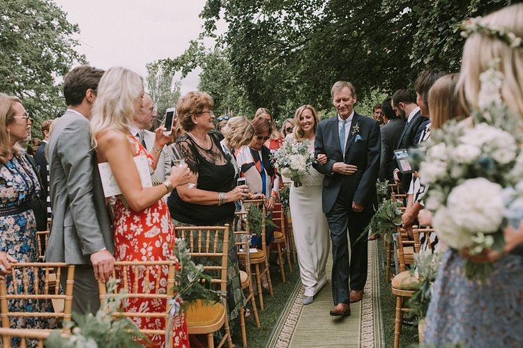 Wedding Ceremony Bridal Entrance in Laure de Sagazan | Blue & White Outdoor Summer Wedding at Maunsel House, Somerset | Maureen Du Preez Photography