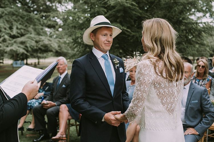 Wedding Ceremony | Bride in a Laure de Sagazan Gown | Groom in Navy Suit | Blue & White Outdoor Summer Wedding at Maunsel House, Somerset | Maureen Du Preez Photography