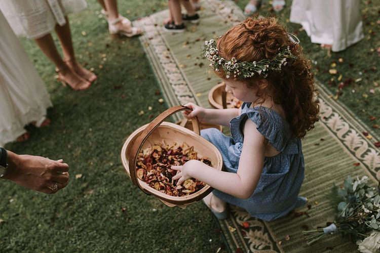Flower Girl with Confetti Basket | Blue & White Outdoor Summer Wedding at Maunsel House, Somerset | Maureen Du Preez Photography