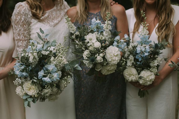 Blue & White Bouquets | Blue & White Outdoor Summer Wedding at Maunsel House, Somerset | Maureen Du Preez Photography