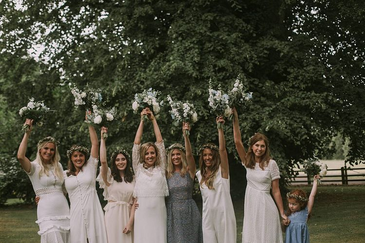 Bridesmaids in White & Blue Dresses | Bride in Laure du Sagazan Gown | Blue & White Outdoor Summer Wedding at Maunsel House, Somerset | Maureen Du Preez Photography