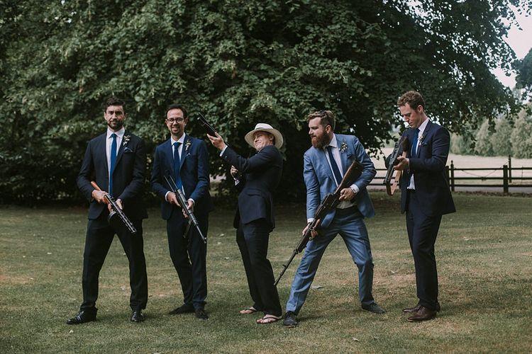 Groomsmen | Blue & White Outdoor Summer Wedding at Maunsel House, Somerset | Maureen Du Preez Photography