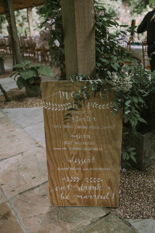 Wooden Menu Sign | Blue & White Outdoor Summer Wedding at Maunsel House, Somerset | Maureen Du Preez Photography