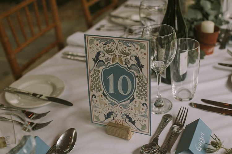 Table Number Wedding Stationery | Blue & White Outdoor Summer Wedding at Maunsel House, Somerset | Maureen Du Preez Photography