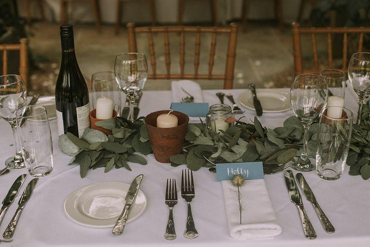 Eucalyptus Table Runner | Blue & White Outdoor Summer Wedding at Maunsel House, Somerset | Maureen Du Preez Photography