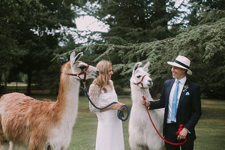 Bride in Laure du Sagazan Gown | Groom in Panama Hat | Llamas | Blue & White Outdoor Summer Wedding at Maunsel House, Somerset | Maureen Du Preez Photography