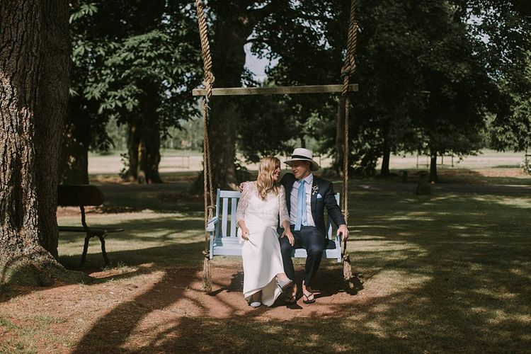 Bride in Laure du Sagazan Gown | Groom in Panama Hat | Blue & White Outdoor Summer Wedding at Maunsel House, Somerset | Maureen Du Preez Photography