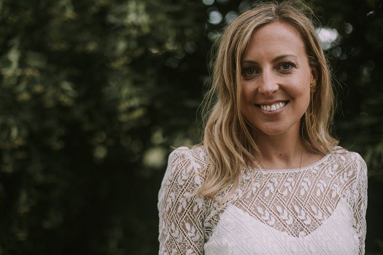 Bride in Laure du Sagazan Gown | Blue & White Outdoor Summer Wedding at Maunsel House, Somerset | Maureen Du Preez Photography