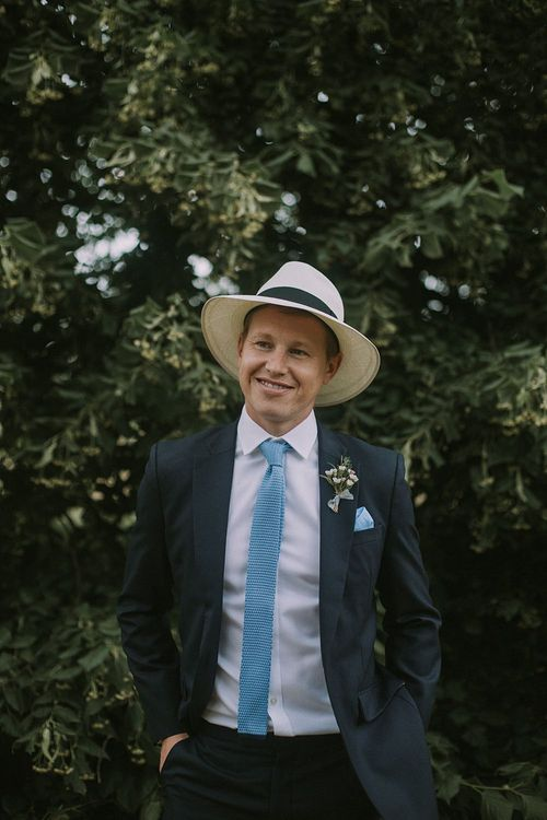 Groom in Panama Hat | Blue & White Outdoor Summer Wedding at Maunsel House, Somerset | Maureen Du Preez Photography
