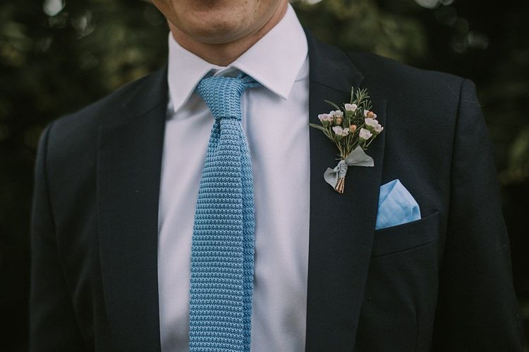 Groom in Blue Woven Tie | Blue & White Outdoor Summer Wedding at Maunsel House, Somerset | Maureen Du Preez Photography