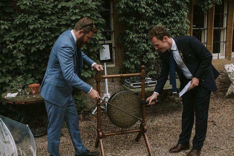Outdoor Wedding Speeches | Blue & White Outdoor Summer Wedding at Maunsel House, Somerset | Maureen Du Preez Photography