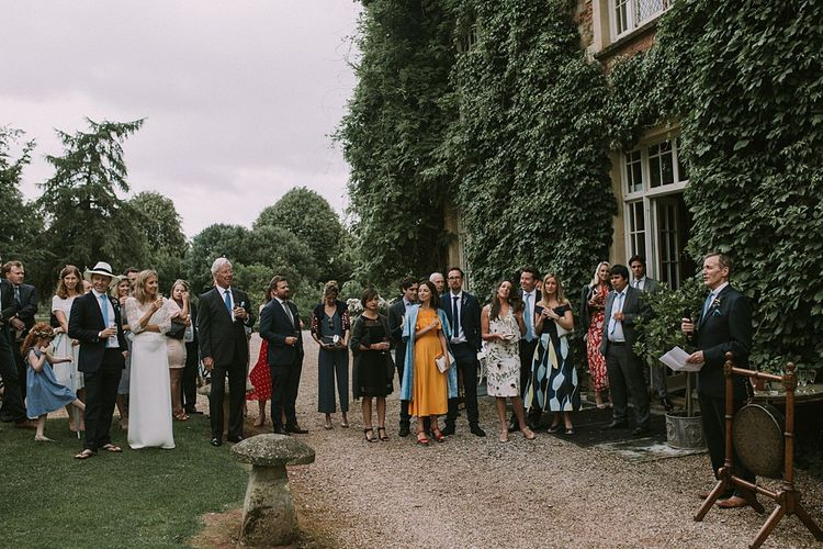 Wedding Speeches | Blue & White Outdoor Summer Wedding at Maunsel House, Somerset | Maureen Du Preez Photography