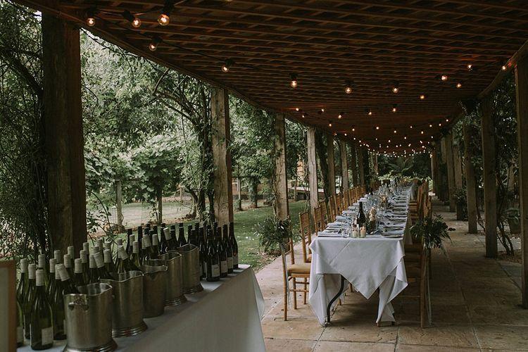 Patio Reception | Blue & White Outdoor Summer Wedding at Maunsel House, Somerset | Maureen Du Preez Photography