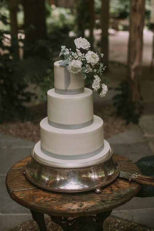 Elegant Wedding Cake | Blue & White Outdoor Summer Wedding at Maunsel House, Somerset | Maureen Du Preez Photography